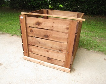 Compost Bin - Single Slatted Sturdy Wooden Composting Box/Removable Front Boards/Optional Lid and Aerating-Base/Compost Maker/FSC  Timber