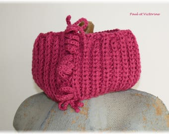 Knitted Snood, dark pink with fancy