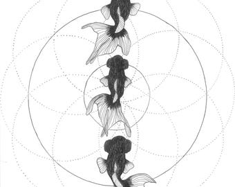 ORIGINAL- Life Full of Circles- Geometric Fish Art