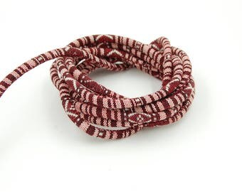 1 m cord woven ethnic Diam. Burgundy rose 6.5 mm