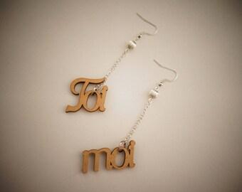 Original earrings made of mdf - you & me