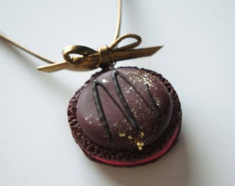Polymer clay - chocolate macaroon necklace