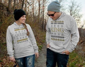 King & Queen Christmas Hoodies For Couples...