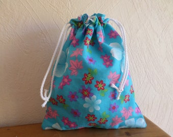 bag pouch made with a blue flower fabric