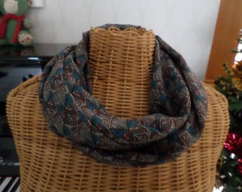 snood in shades of Brown, blue, beige chiffon