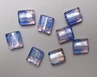 8 blue and pink 15 mm square glass beads.