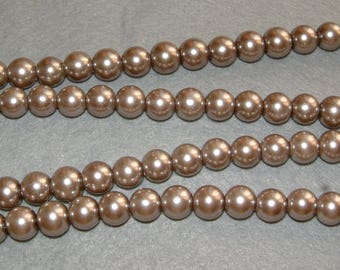 40 glass beads round grey Pearl glass 8 X 8 mm.