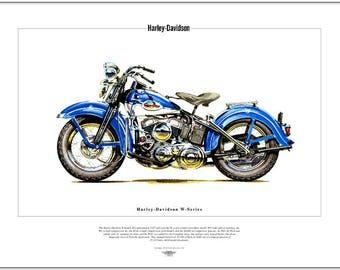 HARLEY Davidson W-Series - Fine Art Print - Classic American US Motor Cycle WLD