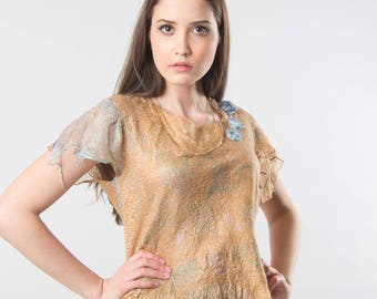 Tunic handmade felted on silk