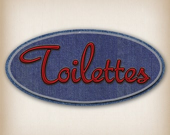 Denim style door sign decal toilet blue and Red 012