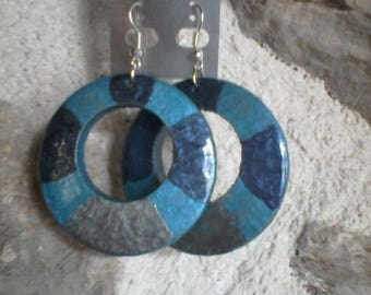 Ocean hand painted wood stud earrings