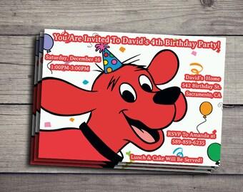 Clifford The Big Red Dog Birthday Invitation, Clifford The Big Red Dog Birthday Invite, Clifford Invitations, Clifford The Big Red Dog