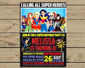DC Superhero Girls Invitation * Dc Superhero Girls Birthday Invite * Birthday Party Chalkboard Invitations * Personalized * YOU PRINT