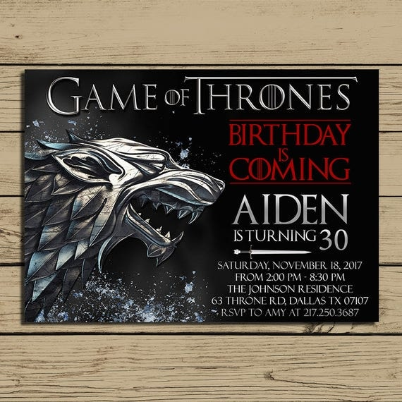 Game of thrones invitation game of thrones birthday party for Game of thrones birthday party
