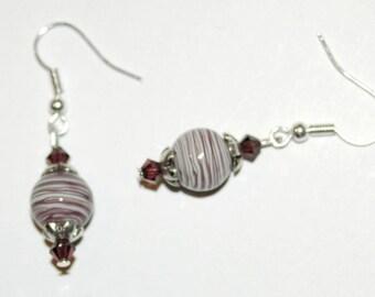 Plum striped earrings