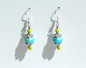 Joyful - Version lime green and turquoise earrings