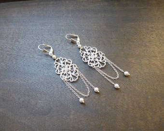 "Wedding earrings ""Manon"" with swarovski pearls"