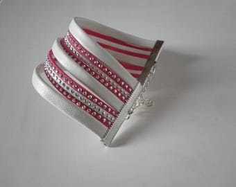 White leather and suede and studded fuchsia effect rhinestone Cuff Bracelet