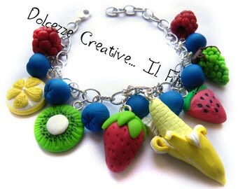Bracelet Vegan - Fruit - blueberries, banana, watermelon, kiwi, lemon, raspberry, grape