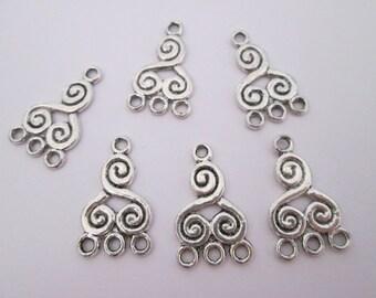 6 connecteur spirale celtique métal argenté  21 x 13 mm