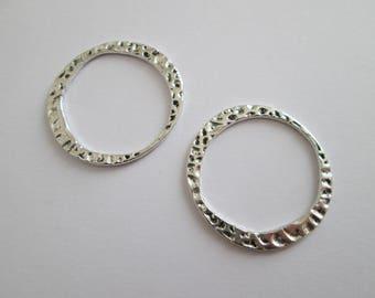 2 grand anneau fermé diamètre 30 mm en métal argenté