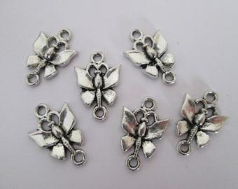 6 connecteur papillon 18 x 12 mm en métal argenté