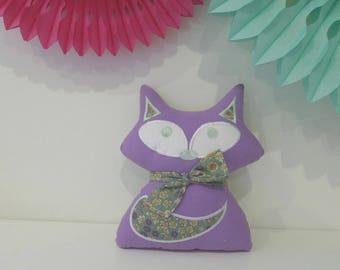 Plush Fox pillow, purple, fabric flowers rustle _ideal birthday gift