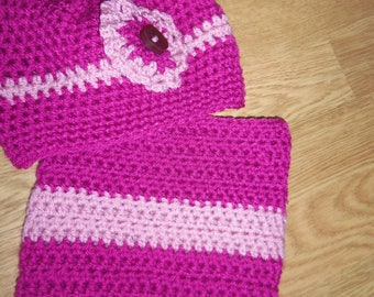 Pink Snood and hat set