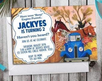 Little Blue Truck Birthday, Little Blue Truck Invitation, Little Blue Truck Birthday Invitation, Little Blue Truck Party, Blue Truck Invites