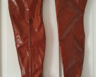 Very Rare Brown Matt Leather Check pattern High Heeled Thigh/Crotch Length Boots UK 5 EU 39