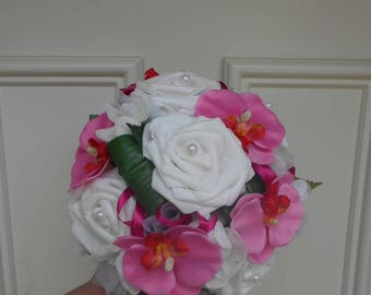 """""""Bry"""" round bridal bouquet - white and fuchsia - artificial flowers"""
