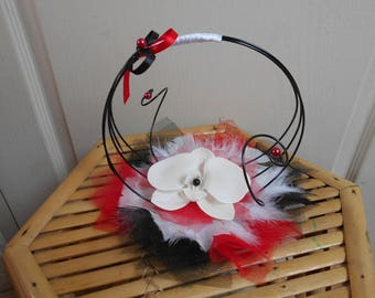 Original ring pillow - black white and red with Orchid