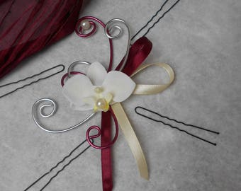 Hair - Burgundy and silver ivory Orchid
