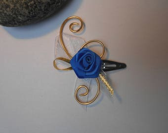 Child's flower hair clip - Royal Blue, gold and white