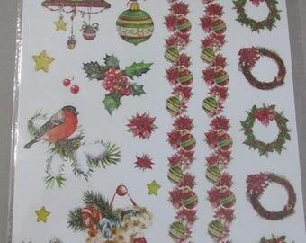 Santa Claus Christmas theme glitter stickers