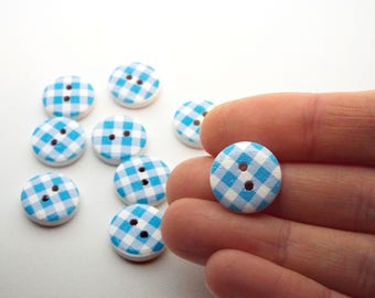 8x Checked blue button 15mm wooden
