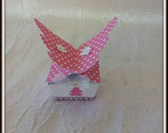 Pink butterfly baptism favors box / white