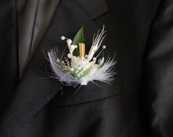 White and green wedding boutonniere