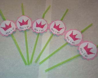 paper straws with candy bar birthday or christening tags