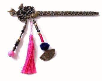"ORIGINAL hair has ¨PIQUE""bronze, pink and blue. Asian style wedding"