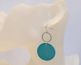 Blue mother of Pearl coin earrings