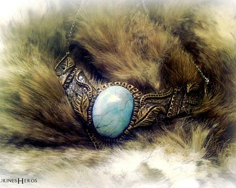 Jewelry: Bronze gold color with turquoise stone - cosplay - bib necklace