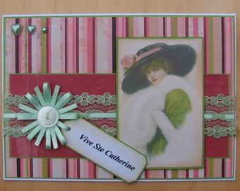 "card ""Sainte Catherine"" vintage lace Ribbon flower image"
