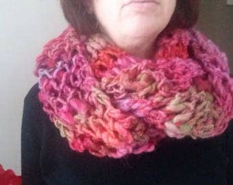 Snood/turn of neck 2 towers new hand made pink tone