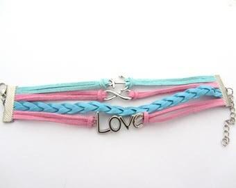 bracelet to be customized,pink bracelet,