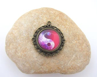 Glass cabochon pendant,Yin Yang, glass pendant, bronze pendant,jewelry making,necklace making