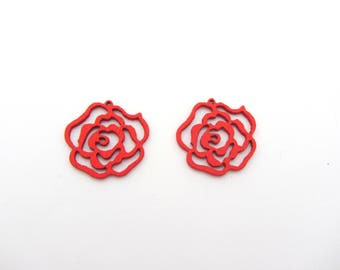 A wooden red flower bead