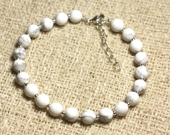 Bracelet 925 sterling silver and stone - Howlite 6mm