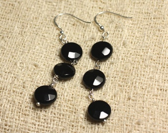 925 Sterling Silver earrings - Onyx Black faceted beads 10mm