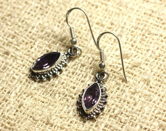 BO207 - 925 Sterling Silver earrings - Amethyst faceted Marquise 10x5mm